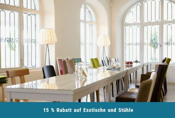15 % Rabatt auf Esstische und Stühle